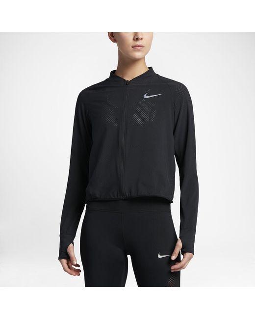2e2582cdf876 Lyst - Nike Women s Running Jacket in Black