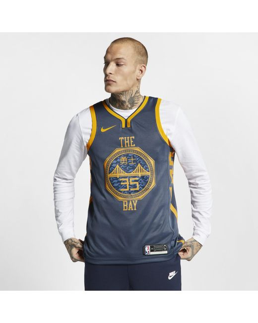 new product 96650 6ede1 Men's Blue Kevin Durant City Edition Swingman (golden State Warriors) Nba  Connected Jersey