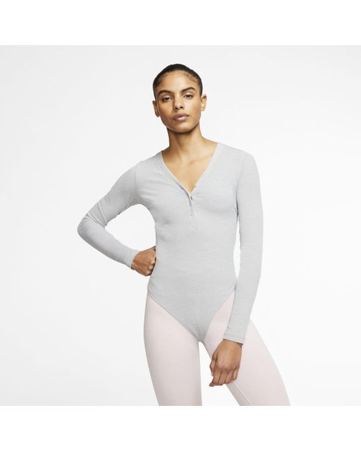 Nike Gray Yoga Luxe Infinalon Long-sleeve Bodysuit Grey