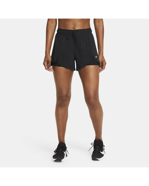 Nike Black Flex Essential 2-in-1 Damen-Trainingsshorts