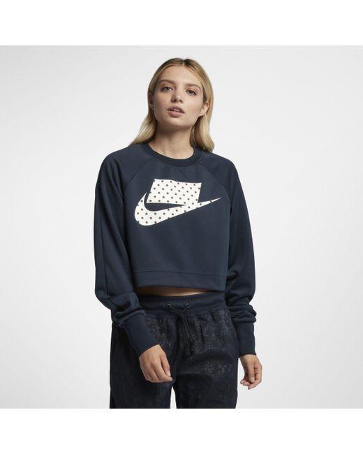 ec278d862d59 Nike Sportswear Crop Crew in Blue - Lyst