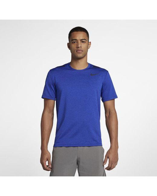 796830e6f Lyst - Nike Dri-fit Men's Short Sleeve Training Top in Blue for Men