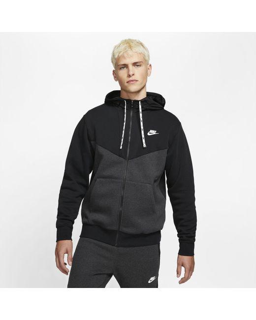Nike Sportswear Hybrid-Fleece-Hoodie mit durchgehendem Reißverschluss in Black für Herren