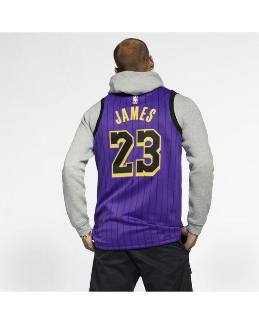 super popular fd7e8 7c9ab Nike Lebron James Nba City Edition Swingman Jersey in Purple ...