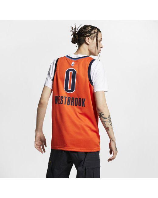 30beb5c7c15 ... Nike - Orange Russell Westbrook Earned City Edition Swingman (oklahoma  City Thunder) Nba Connected