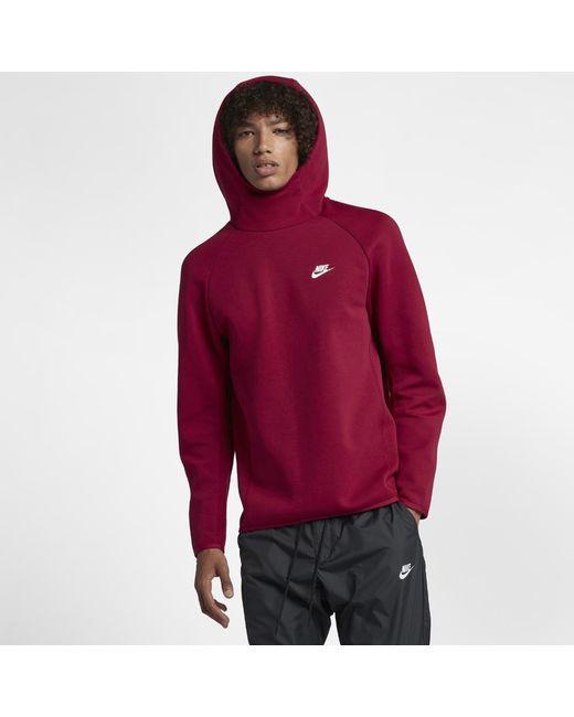 d65947a04cf Nike - Red Sportswear Tech Fleece Men s Pullover Hoodie for Men - Lyst