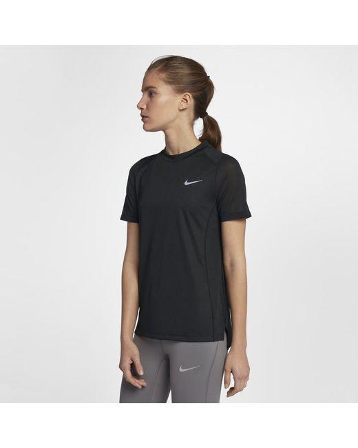 85fe74fe9823e Lyst - Nike Miler Women s Short Sleeve Running Top in Black
