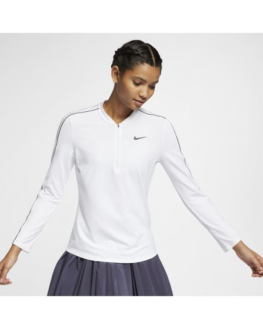 Haut de tennisà manches longues et demi-zip Court Dri-FIT pour Nike en coloris White