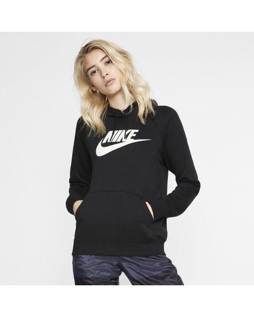 Nike Black Sportswear Essential Fleece-Hoodie für