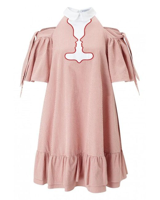 Vivetta | Red Pavone Pinstriped Ruffle Dress | Lyst