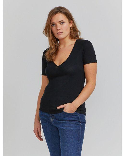 Ninetypercent Black Organic Cotton Ribbed V-neck T-shirt