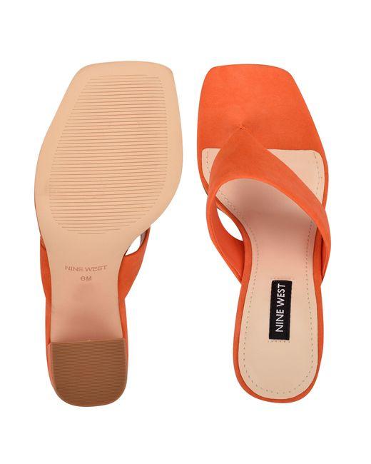 Nine West Orange Gogo Block Heel Slide Sandals