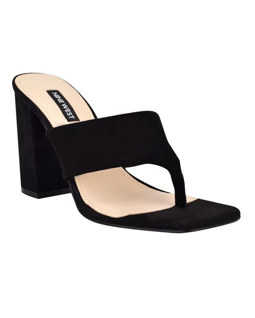Nine West Black Gogo Block Heel Slide Sandals