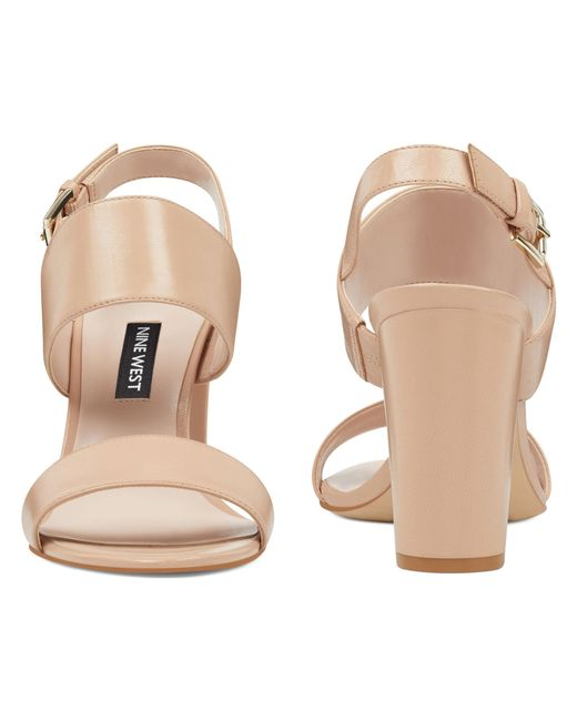 dfe4ab19934 Lyst - Nine West Narolyn Block Heel Sandals in Natural - Save 31%