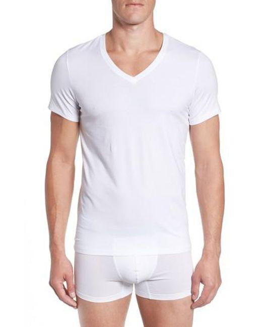 Hanro - White V-neck T-shirt for Men - Lyst