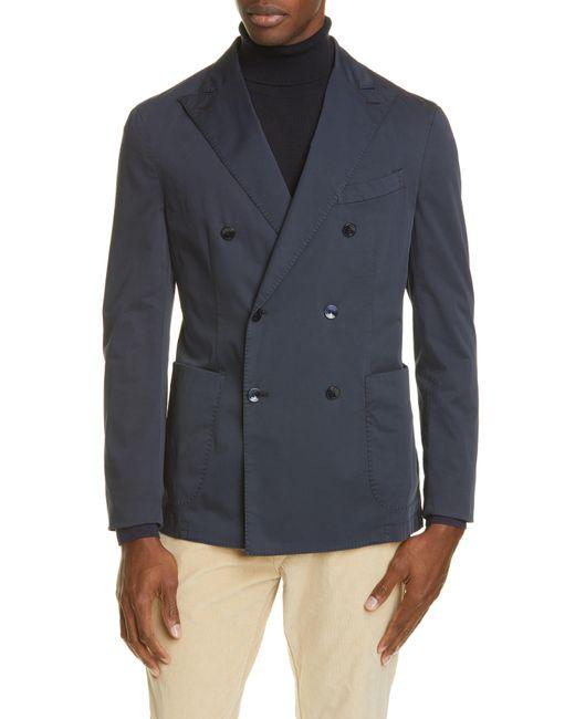 Boglioli Blue Trim Fit Double Breasted Solid Stretch Cotton Sport Coat for men
