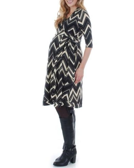 Everly Grey | Black Mila Wrap Maternity/nursing Dress | Lyst