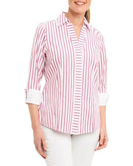 Foxcroft | Red Taylor Non-iron Stripe Cotton Shirt | Lyst