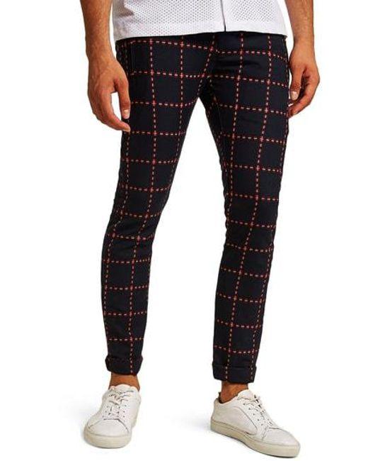 675e104d1f Topman - Black Crisscross Check Stretch Skinny Fit Trousers for Men - Lyst