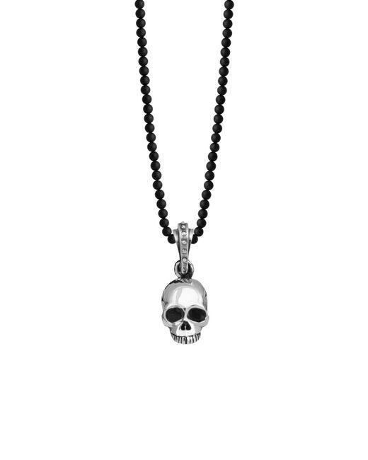 King Baby Studio Metallic 'hamlet' Sterling Silver & Onyx Skull Pendant Necklace for men