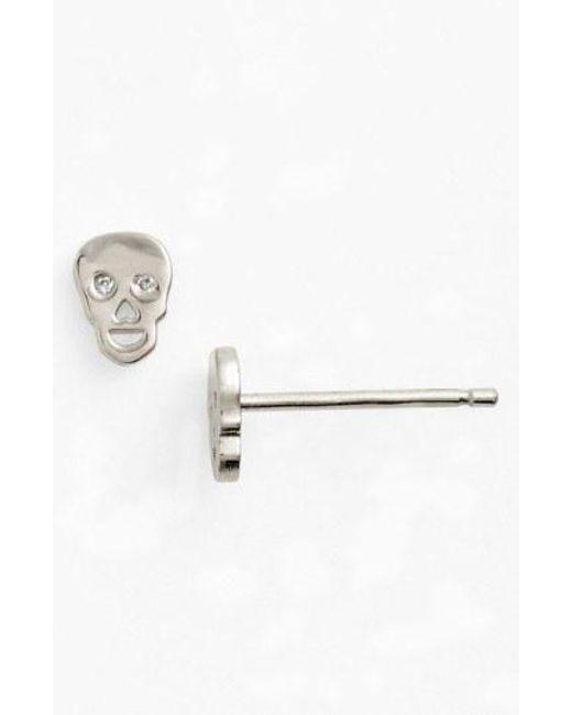 Shy By Sydney Evan - Metallic Skull Earrings - Lyst