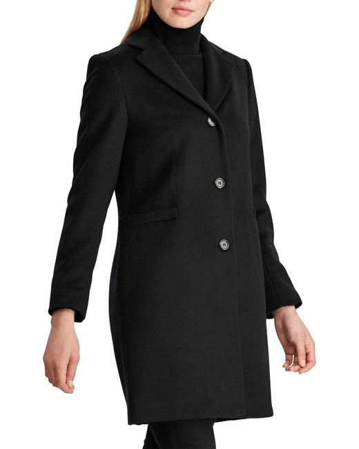 Lauren by Ralph Lauren Black Reefer Wool-Blend Coat