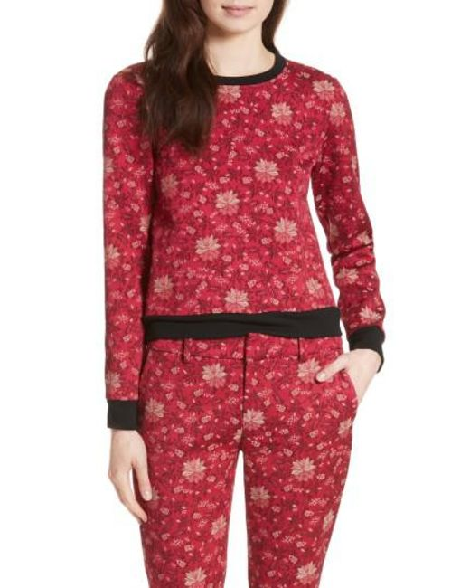 Alice + Olivia | Red Marylou Floral Jacquard Sweatshirt | Lyst