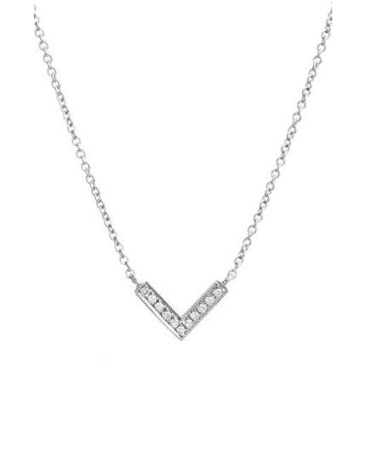 Dana Rebecca - Metallic 'sylvie Rose' Diamond V Pendant Necklace - Lyst