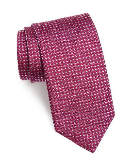 David Donahue Red Geometric Dot Silk Tie for men