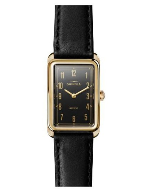 Shinola | Black The Muldowney Rectangular Leather Strap Watch | Lyst