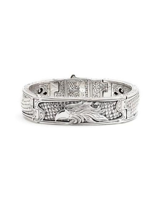 Konstantino Heonos Mens Sterling Silver/Gold Eagle Hinge Bracelet iA3jq2KI
