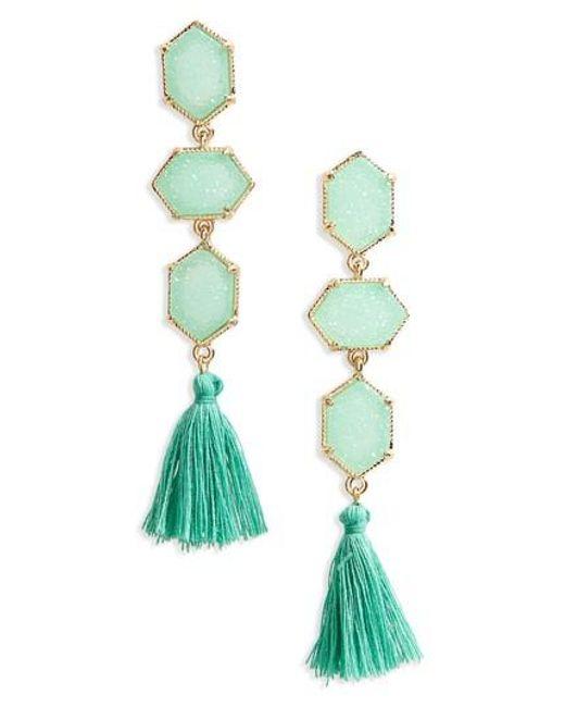 Panacea   Green Faux Drusy Tassel Earrings   Lyst