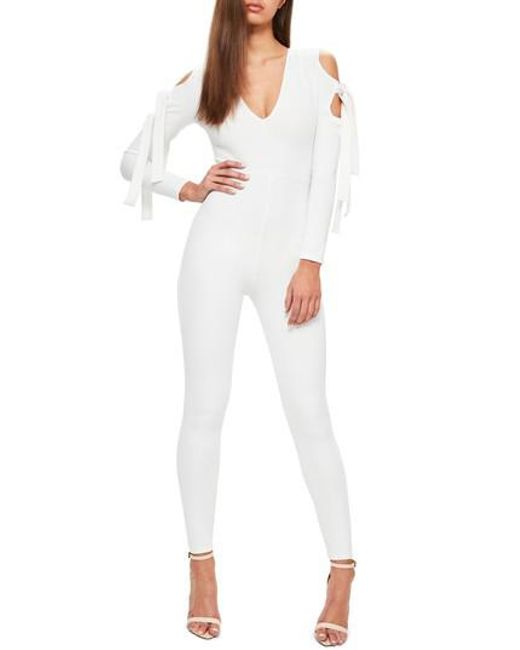 Missguided | White Cold Shoulder Jumpsuit | Lyst