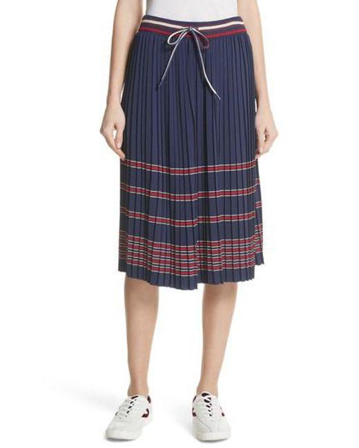 Tretorn - Blue Pleated Midi Skirt - Lyst