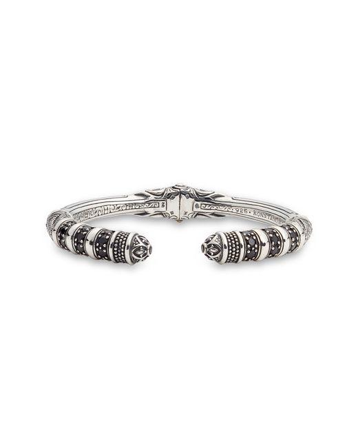 Konstantino Metallic Circe Black Spinel Hinged Cuff Bracelet