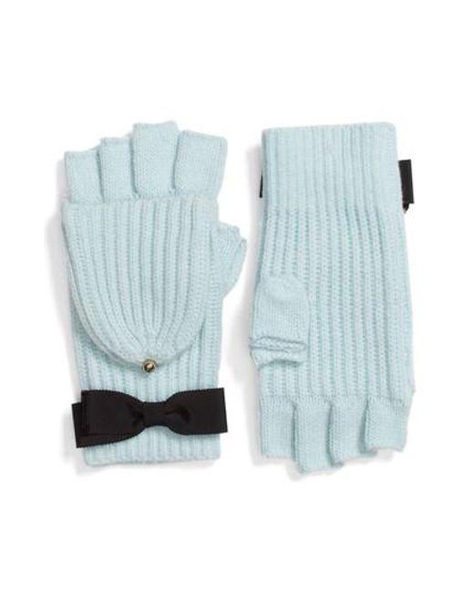 Kate Spade | Blue Grosgrain Bow Convertible Knit Mittens | Lyst