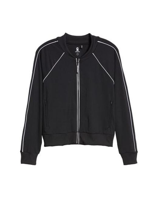 GOOD AMERICAN - Blue Piped Bomber Jacket - Lyst