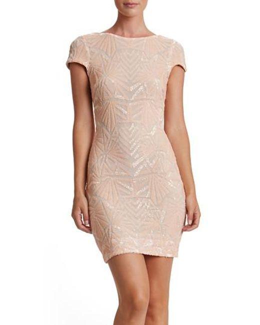 Dress the Population   Natural Tabitha Sequin Mesh Minidress   Lyst