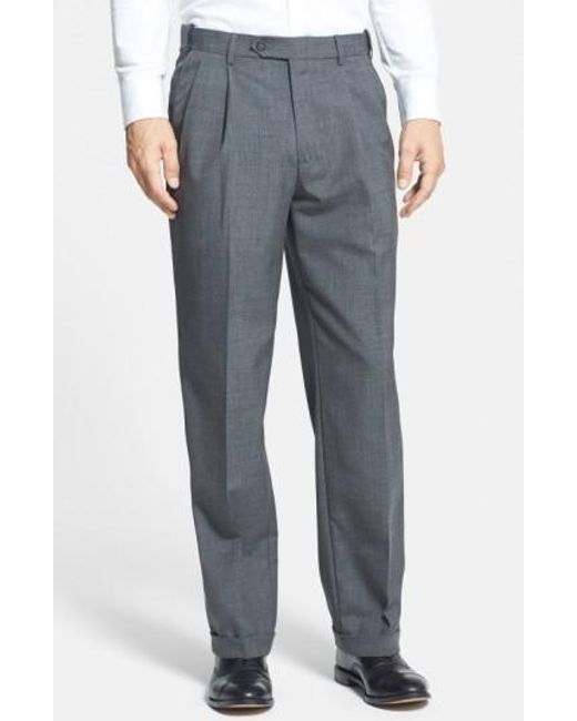 Berle | Gray Self Sizer Waist Pleated Trousers for Men | Lyst