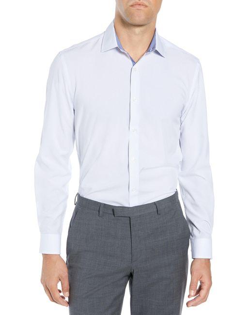 W.r.k. Blue Slim Fit Performance Stretch Dot Dress Shirt for men