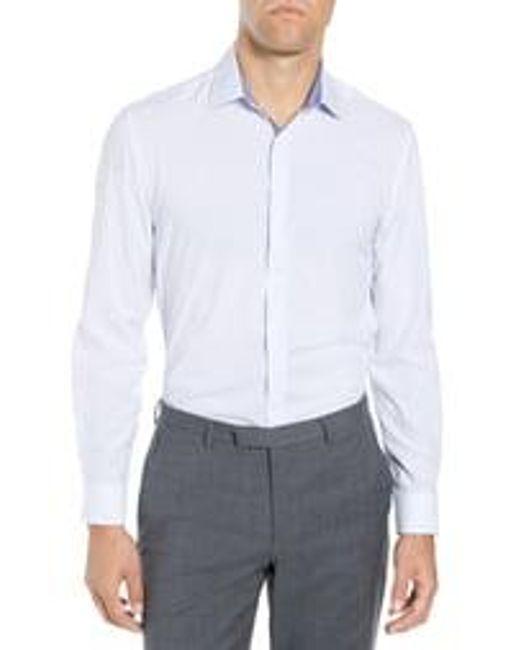 W.r.k. Blue Trim Fit Performance Stretch Dot Dress Shirt for men