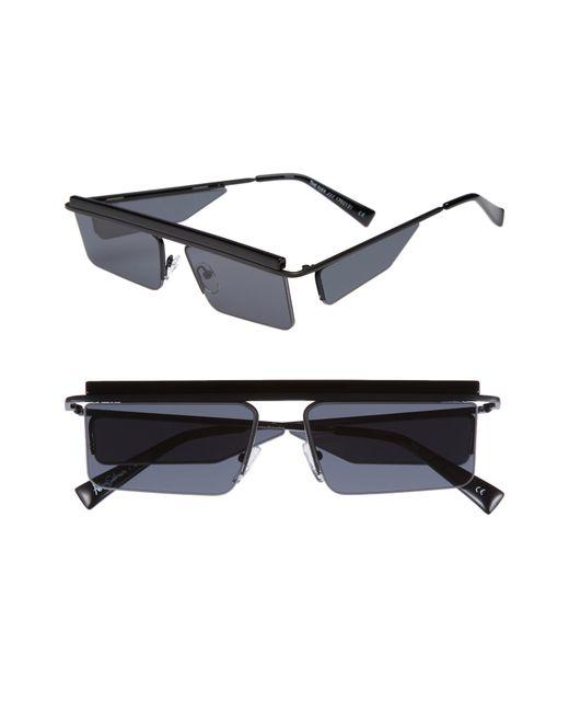 Le Specs - The Flex 55mm Semi Rimless Sunglasses - Satin Black - Lyst