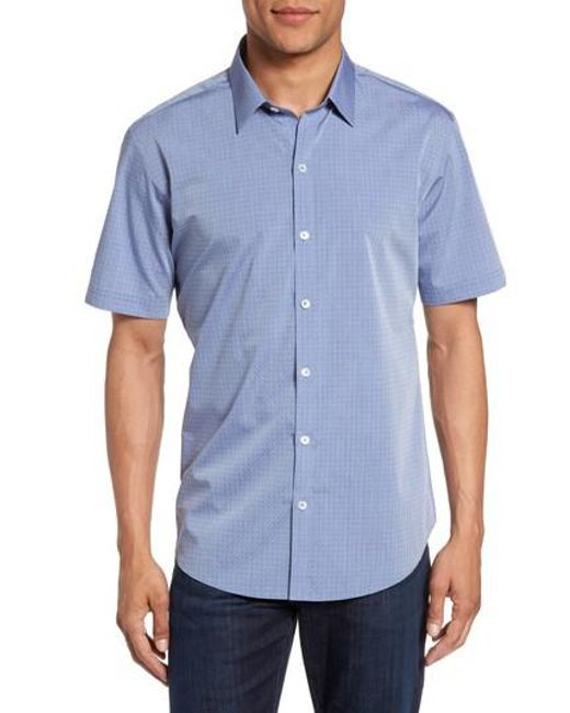 Zachary Prell - Blue Diamond Print Short Sleeve Sport Shirt for Men - Lyst