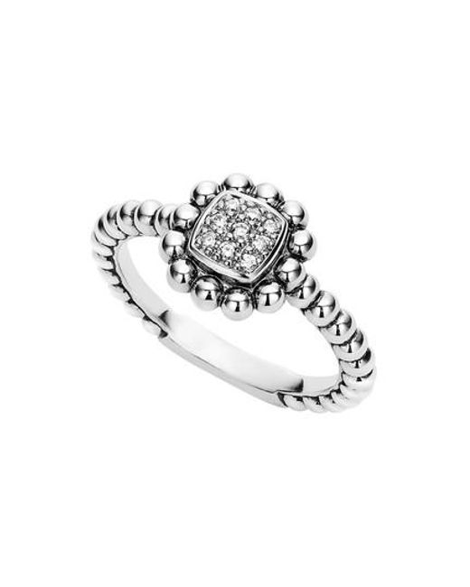 Lagos - Metallic Caviar Spark Diamond Square Ring - Lyst