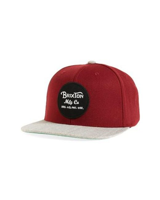 Brixton   Red Wheeler Snapback Baseball Cap for Men   Lyst
