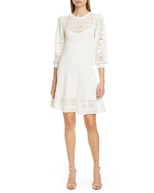 A.L.C. White Sofia Fit & Flare Sweaterdress