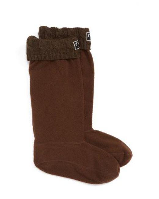 Roma | Brown Knit Collar Fleece Boot Socks | Lyst