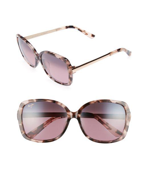 Maui Jim - Pink Melika 58mm Polarized Square Sunglasses - Lyst