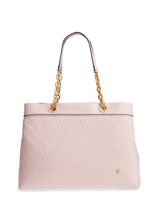 d6bd9c951858 Lyst - Tory Burch Fleming Triple Compartment Leather Tote in Pink