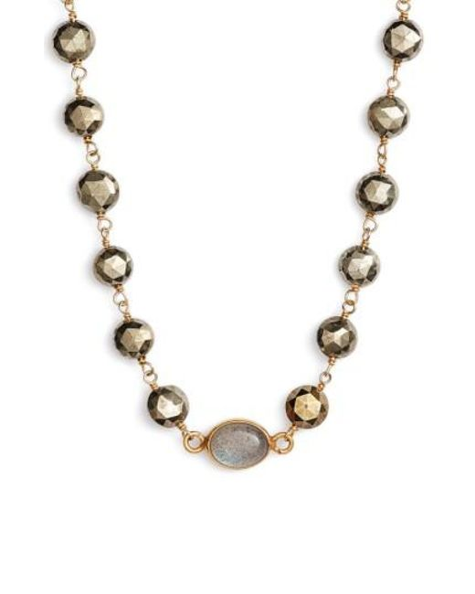 Ela Rae | Metallic Beaded Collar Necklace | Lyst